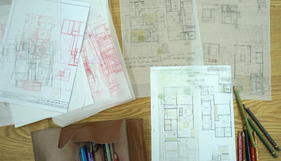 建築家の住宅,栗東の家,ラフプラン