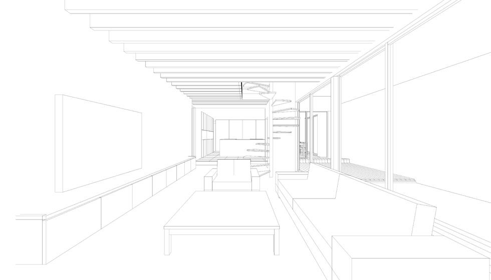 廻り階段_リビング_吹田の家