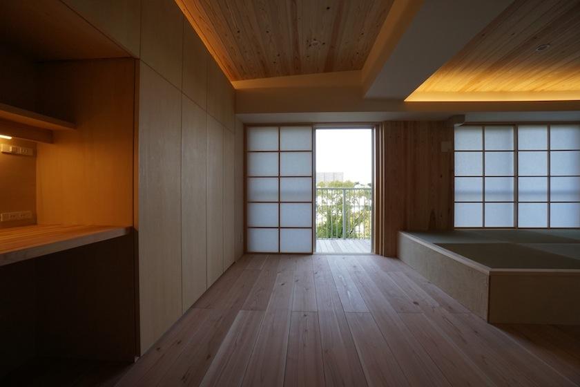 木のマンションリノベーション,リビング,テラス