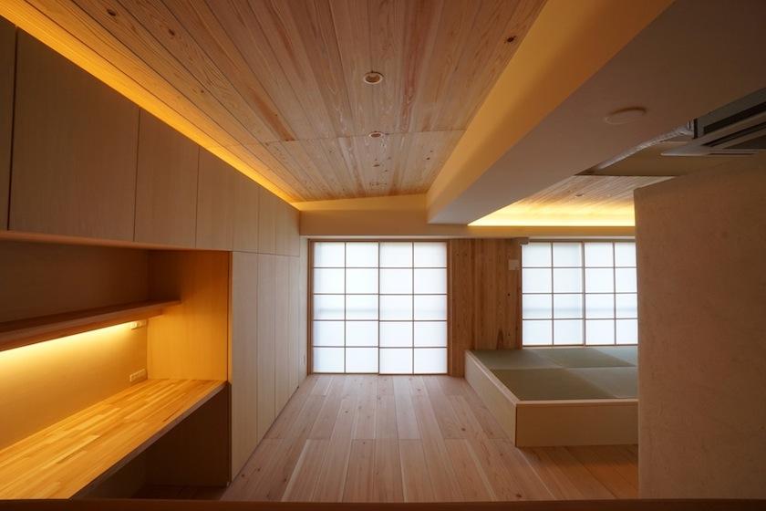 木のマンションリノベーション,リビング,照明