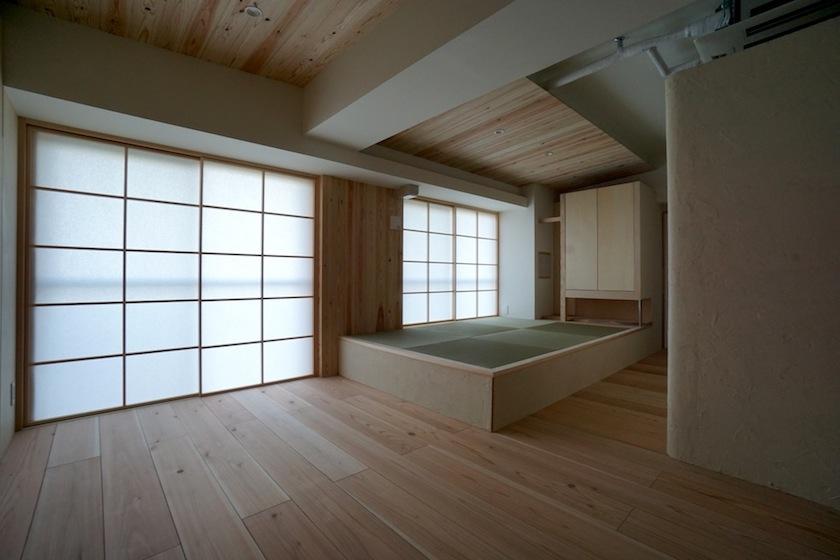 木のマンションリノベーション,リビング,畳コーナー
