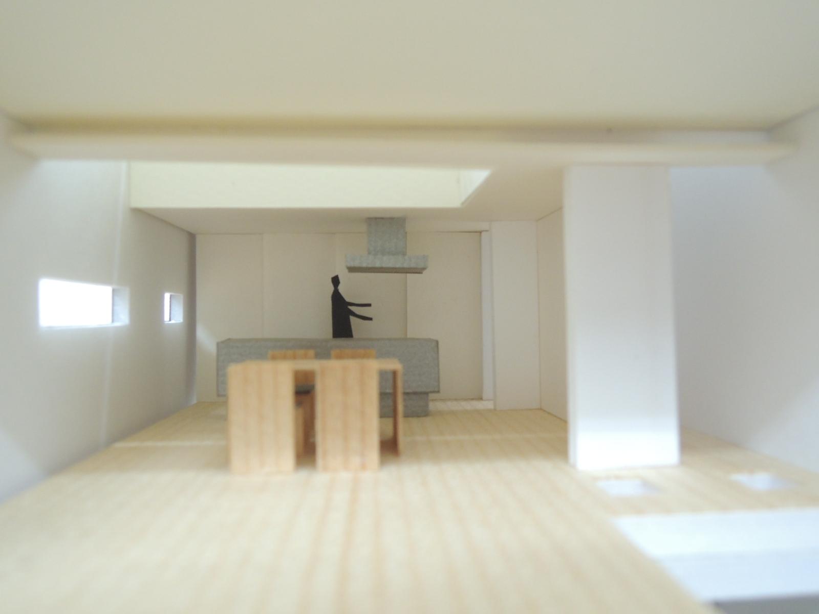 四條畷の家,リビング,木造3階建て,デザイン