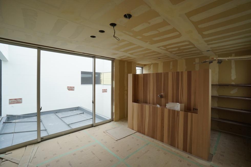 中庭のある寝室,板貼り天井,建築家,デザイン,大阪,神戸,京都