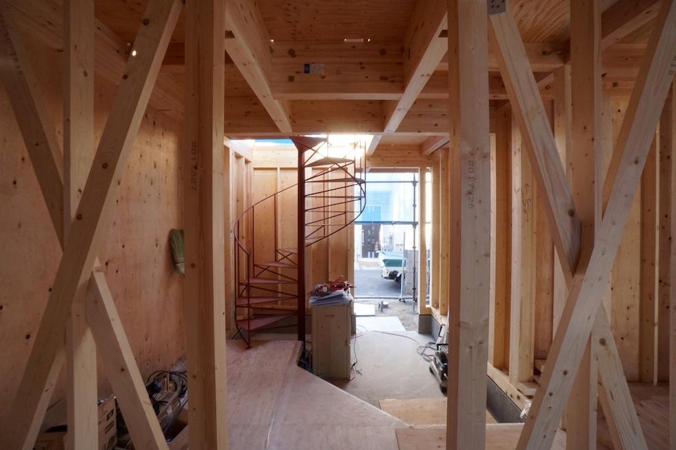 高級注文住宅,大阪,京都,滋賀,神戸,住宅設計,建築家,設計事務所,螺旋階段,3階建てデザイン