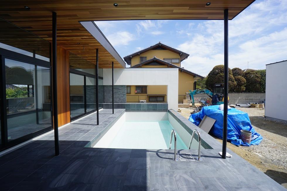 プールハウス,大阪,神戸,京都,設計事務所,建築家,住宅設計,高級注文住宅,和泉市,プールテラス