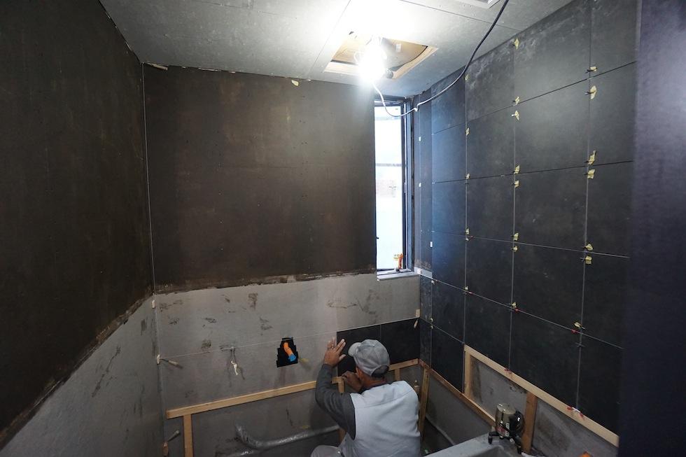 3階建て住宅,デザイン,高級注文住宅,設計事務所,建築家,住宅設計,大阪,京都,神戸,お風呂のタイル貼り