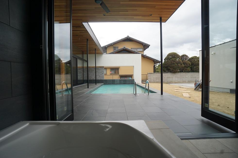 リゾートプールハウス,住宅設計,建築家,高級注文住宅,大阪,神戸,京都,お風呂