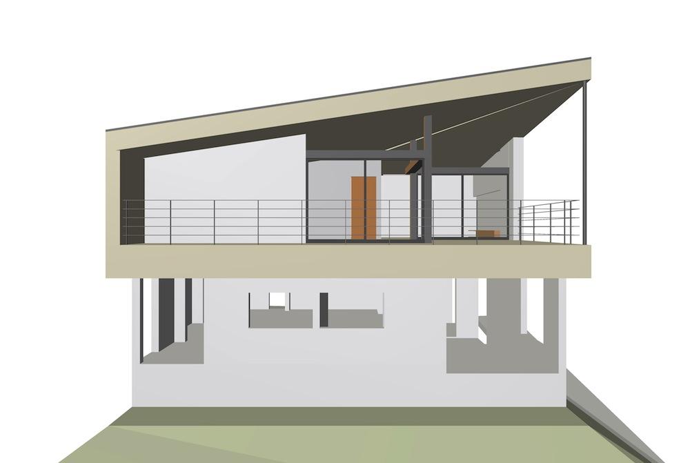 宝塚,雲雀丘,眺望の家,スカイリビング,建築家,設計事務所,大阪,神戸,高級住宅設計,外観