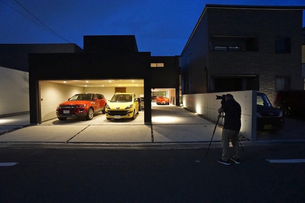 ガレージハウス,大阪,京都,神戸,建築家,設計事務所,高級注文住宅設計,取材,夜景