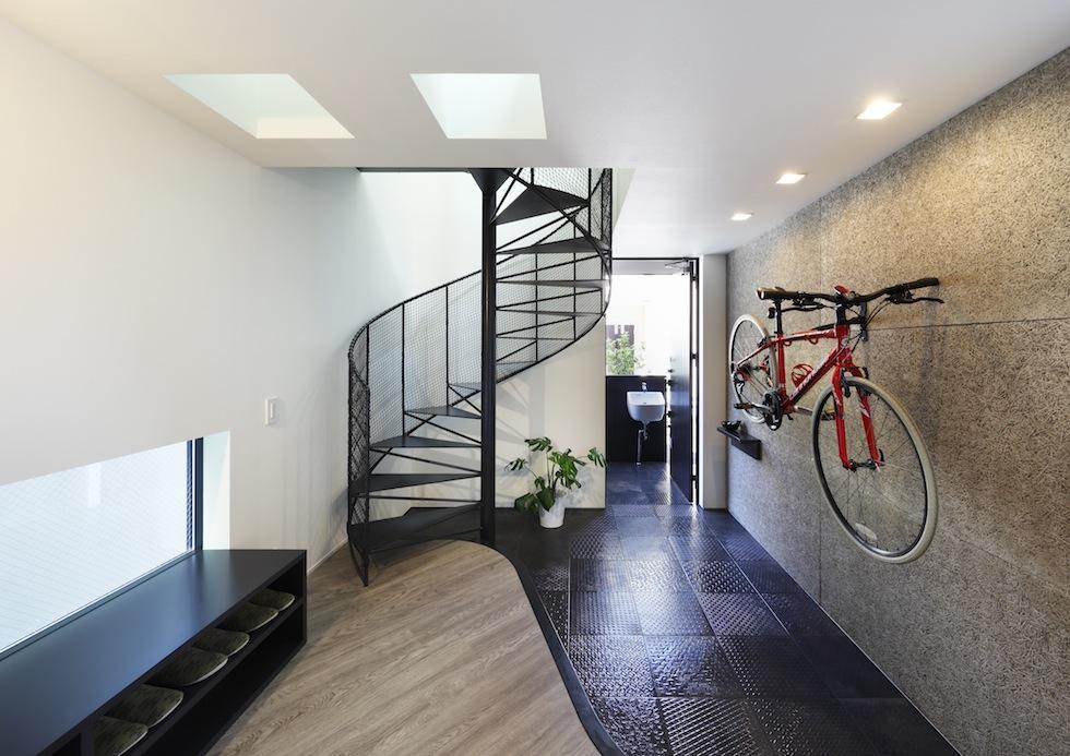 大阪,四條畷,建築家,設計事務所,住宅設計,高級注文住宅,木造3階建てデザイン,螺旋階段,外観デザイン,リビング