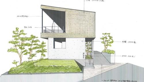宝塚,雲雀丘,眺望の家,スカイリビング,建築家,設計事務所,大阪,神戸,高級,住宅設計,外観