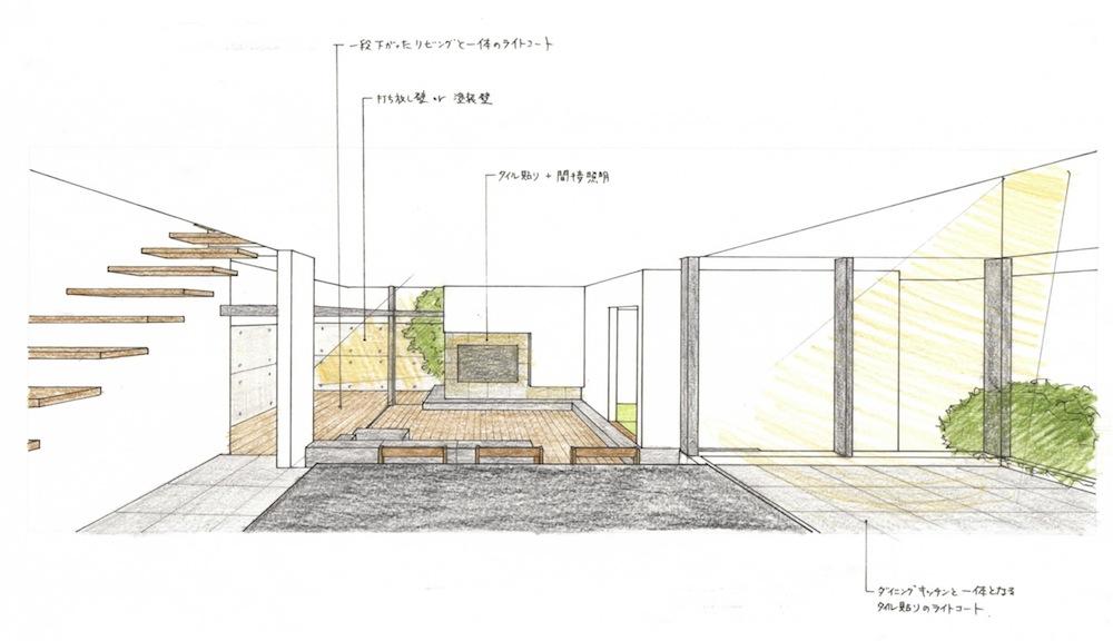 建築家,設計事務所,大阪,京都,神戸,高級注文住宅設計,中庭,インサイド,アウトサイド,モダンリビング