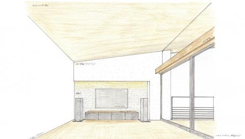 リビングパース,宝塚市,雲雀丘,建築家,設計事務所,高級注文住宅,眺望の家
