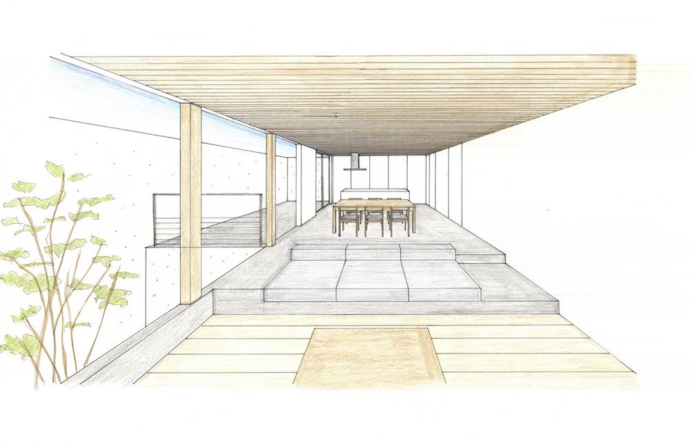 高級注文住宅設計,大阪,京都,神戸,コートハウス,中庭,テラスハウス,ラグジュアリー,ダウンリビング