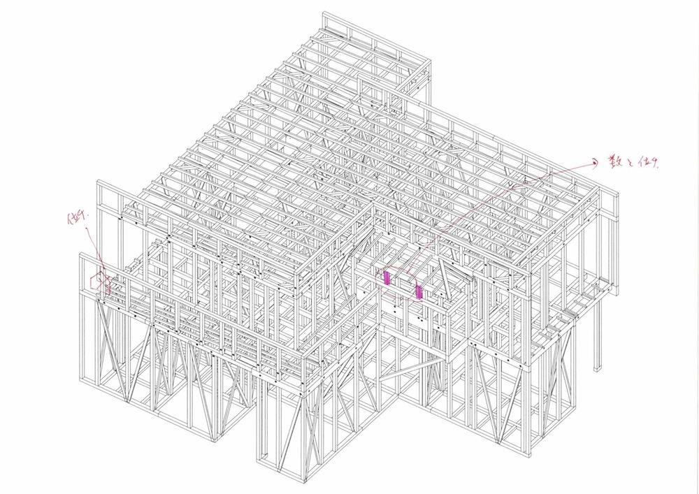 建築家,大阪,高級注文住宅設計,こだわりの住宅,プレカット,確認図