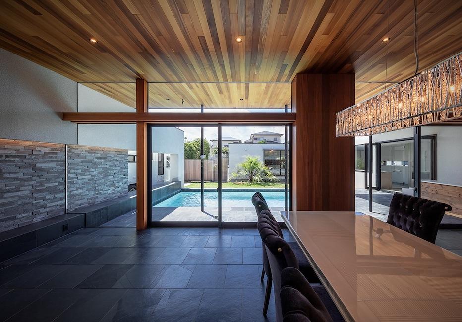 プールハウス,建築家,大阪,神戸,京都,高級注文住宅設計,ラグジュアリー,コートハウス,おおきな窓