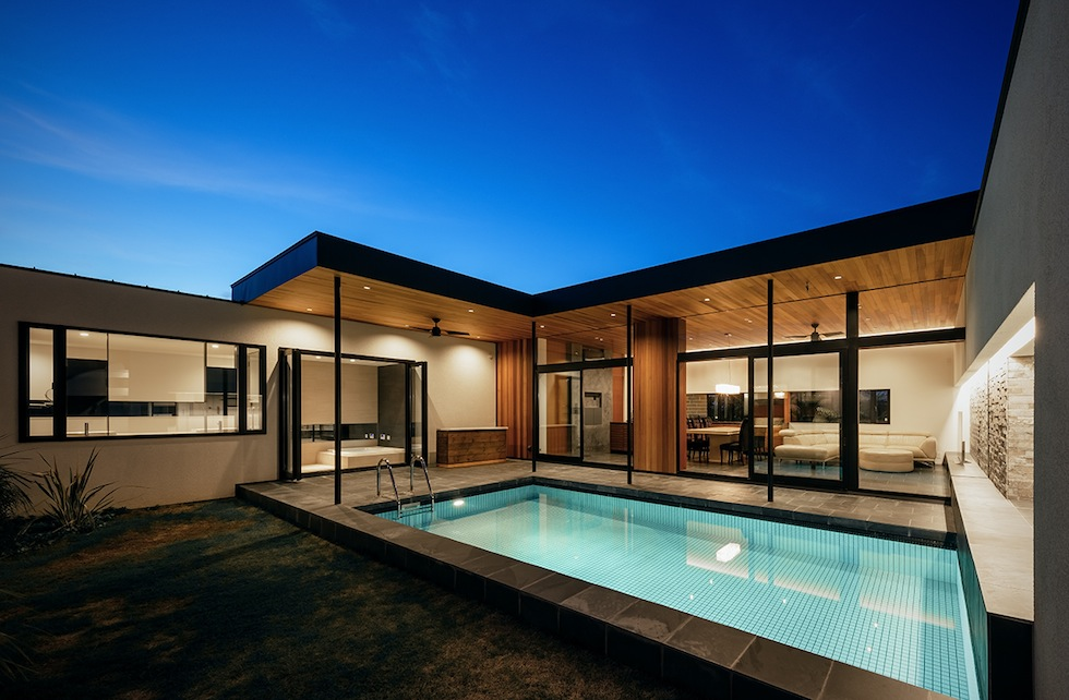 プールハウス,建築家,大阪,神戸,京都,高級注文住宅設計,ラグジュアリー,コートハウス,外観夜景4