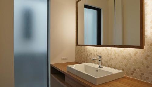 建築家,大阪,宝塚,高級注文住宅設計,眺望のある家,洗面