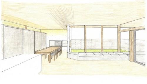 インテリアパース,建築家,設計事務所,中庭の家,大阪,神戸,京都
