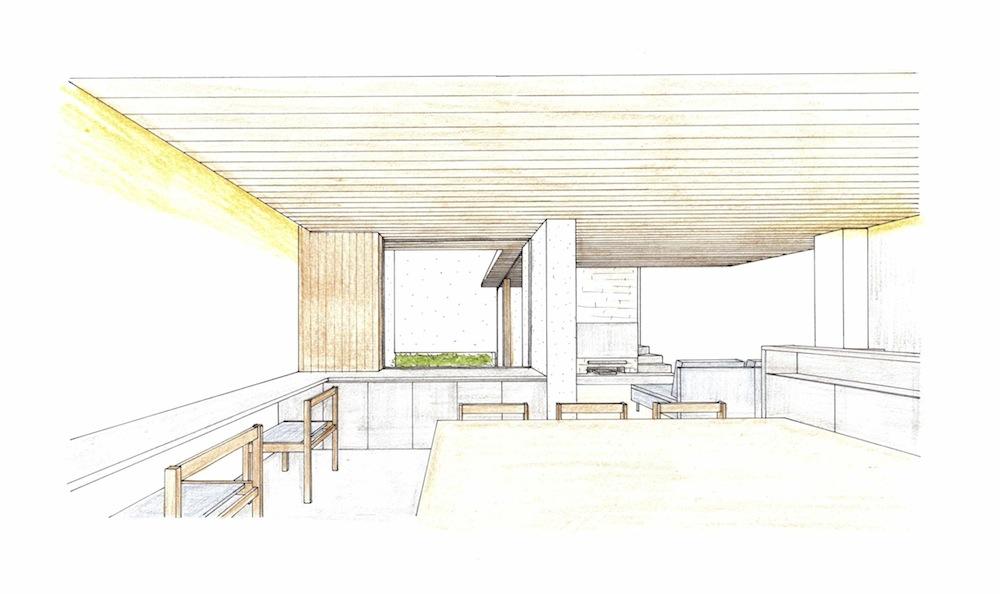 建築家,大阪,ダイニング,パース,高級注文住宅設計,豊中,中庭,コートハウス,井戸