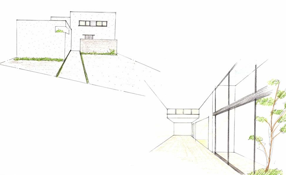 高槻の家,建築家,高級注文住宅設計,大阪,北摂,豊中,外観デザイン,中庭の家