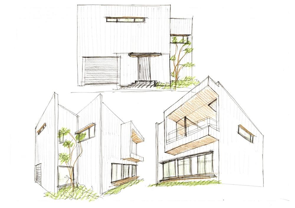 外観パーススケッチ,建築家,大阪,高級注文住宅設計,北摂