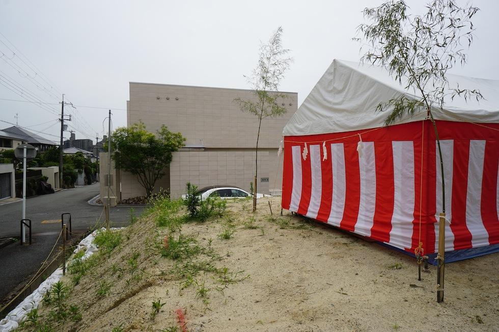 地鎮祭,大阪,豊中,北摂,高級注文住宅設計,コートハウス,中庭の家