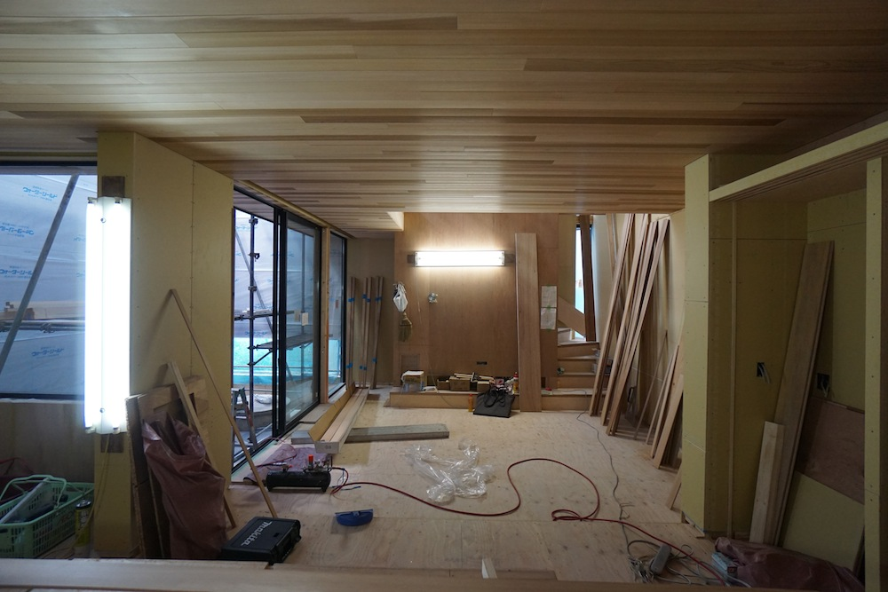 天井の板貼り,大阪,建築家,高級注文住宅設計,北摂,豊中,コートハウス,中庭