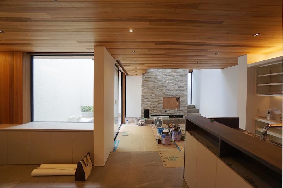 建築家,高級注文住宅設計,大阪,豊中,北摂,建築家デザイン,外観デザイン,板貼り,リビング