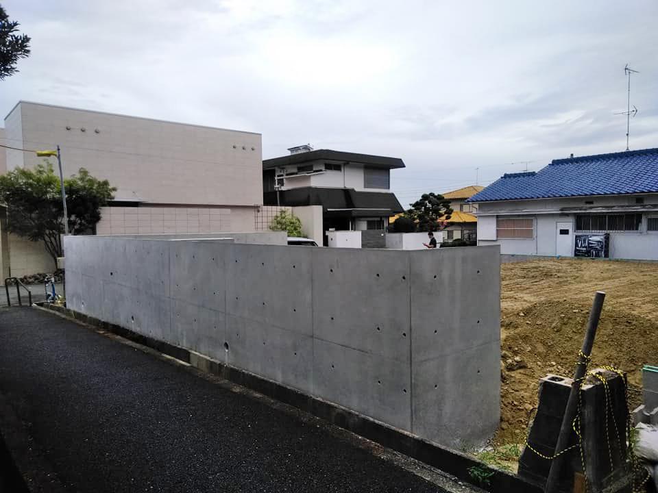 大阪,豊中,設計事務所,高級注文住宅設計,擁壁工事,コンクリート打ち放し