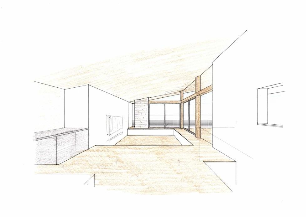 富田林の家,インテリアパース,眺望の家,金剛山,パワースポット