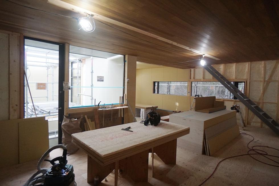 コートハウス,大阪,豊中,高級注文住宅設計,チーク,天井,建築家デザイン