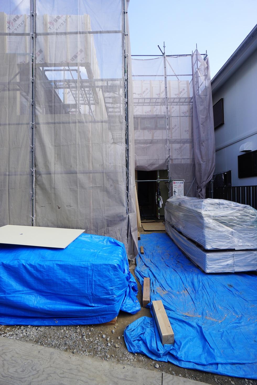 外観,大阪,建築家,高級注文住宅設計,コートハウス,高槻,塗装下地