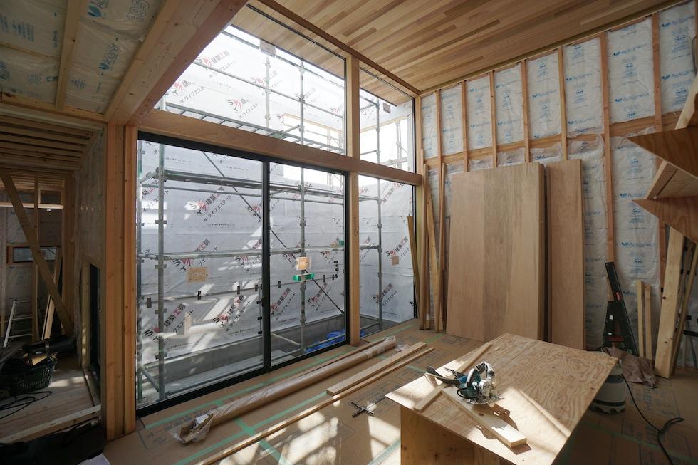 高槻,高級注文住宅設計,建築家,大阪,北摂,コートハウス,吹き抜け,板張り天井
