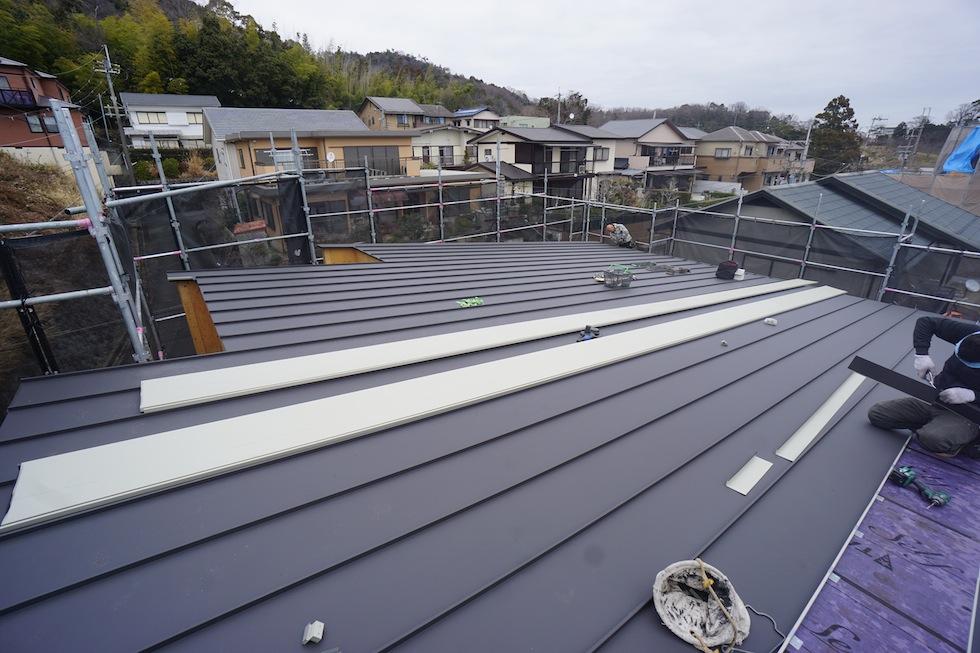 屋根防水工事,大阪建築家,高級注文住宅設計,北摂,箕面,眺望の家,ガレージハウス