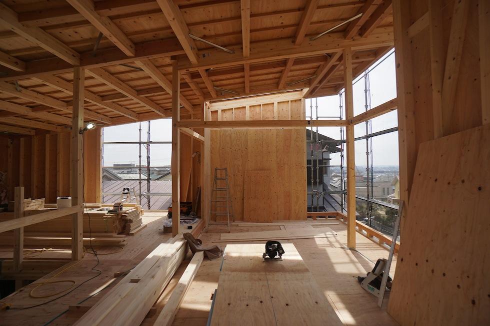 箕面の家,中間検査,大阪,高級注文住宅設計,眺望の家,スカイハウス,眺めの良い家,ガレージハウス