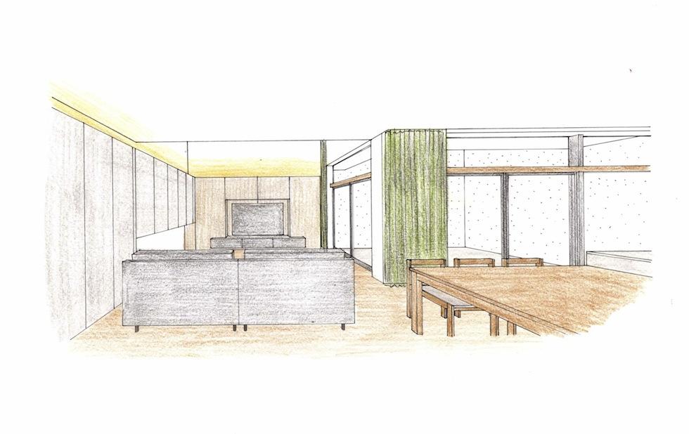 インテリアパース,大阪市,生野区,高級注文住宅設計,耐火建築物,コートハウス,中庭の家