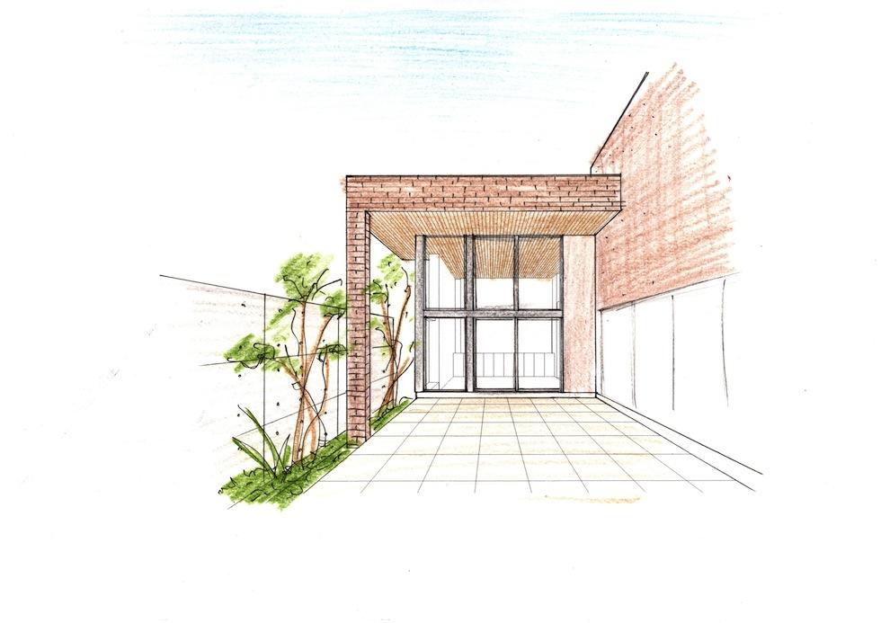 中庭の外観,ライブラリーハウス,図書館のような家,コートハウス,中庭の家